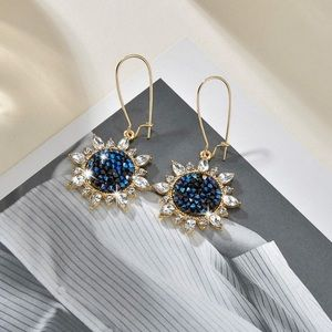 2/$20! Gold/Blue Druzy Gem Sunflower Drop Earrings